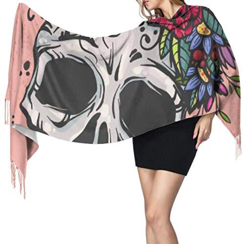 Menselijke Schedel Bloem Krans Womens Sjaal Lichtgewicht Meisjes Sjaal Lichtgewicht Sjaal Set Voor Meisjes 77