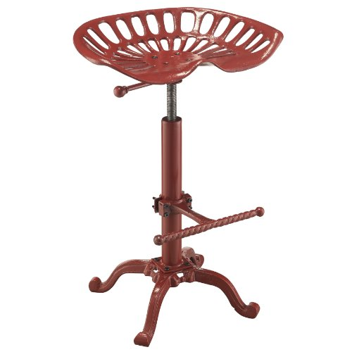 Hot Sale Carolina Cottage Adjustable Colton Tractor Seat Stool, Red