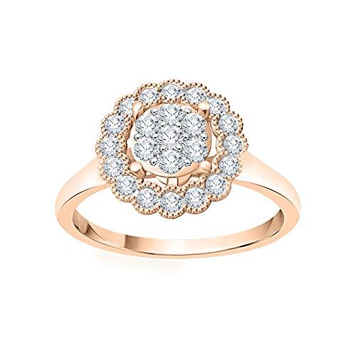 KATARINA Anillo de compromiso con racimo de diamantes en oro de 14 k (3/8 cttw, J-K, SI2-I1), Metal Gema, diamante,