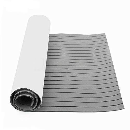 TABODD 240 x 90 x 0,6 cm Deluxe Marine Suelo pavimento Faux de teca de espuma EVA para revestimiento de barcos – Alfombra autoadhesiva para revestimiento de barcos, gris claro y rayas negras