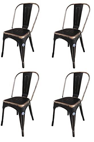 Fleda TRADING Sedia in Metallo Design Industriale - Tipo tòlix Confezione da 4 SEDIE Nero Effetto Invecchiato