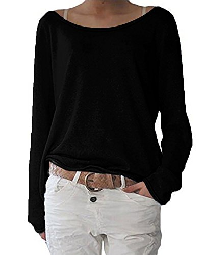 ZANZEA Women's Solid O Neck Long Sleeve T Shirt Casual Knit Tops Blouse Pullover Black US 8-10/Tag Size M