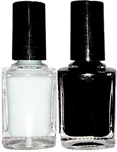 + + + + Set de 2 bouteilles de vernis hochpigmentierte Stamping Cyn, 10 ml (1 x 20021 de Snow White Blanc, 20019 Night black noir)