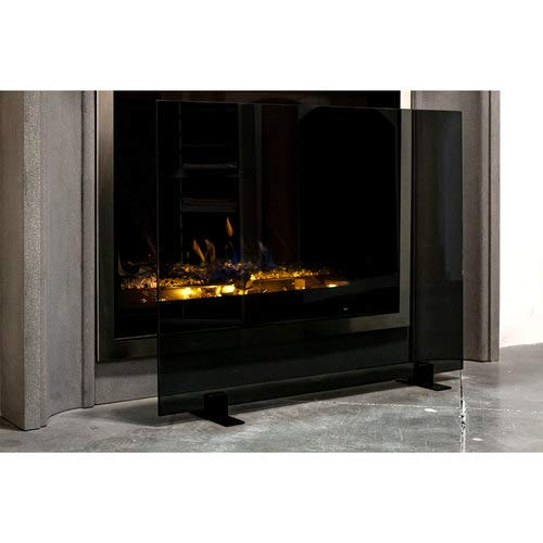 Read About Midnight Modern Free Standing Glass Fireplace Screen (Black, Grey Glass with Black Feet) ...
