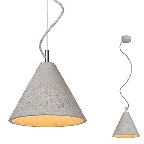 SSC-LUXon Lámpara colgante MAO de diseño de hormigón hecha a mano con detalles de acero inoxidable – con LED E27 6 W blanco cálido cable textil gris claro