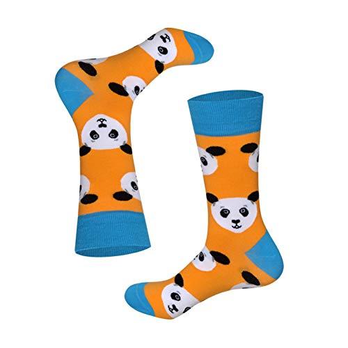 WLQXDD 3 Paar zu verkaufen Socken für Herren und Damen fröhliche Socken verrückte Tiere britischer Stil Baumwolle Lange Crew-Socken Orange Panda, EUR40-46