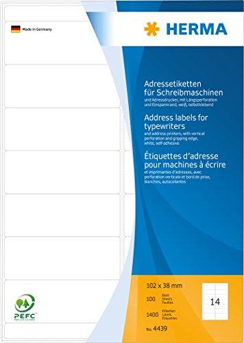 Herma 4439 Adresetiketten voor schrijfmachines en adresprinter (102 x 38 mm) wit, 1.400 adresstickers, 100 vel DIN A4 papier mat, met langwerpige vergrendeling en spanrand, zelfklevend
