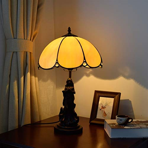 Zaklamp Mediterranean Twilight Retro tafellamp Simple Lighting glazen kap salon eetkamer slaapkamer decoratie Lamp (EU Plug) Task Light for Room (Color : US Plug)