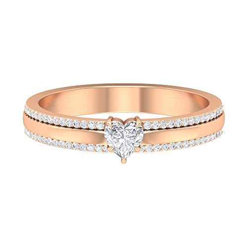 Rosec Jewels 14 quilates oro rosa heart-shape round-brilliant-shape H-I Diamond