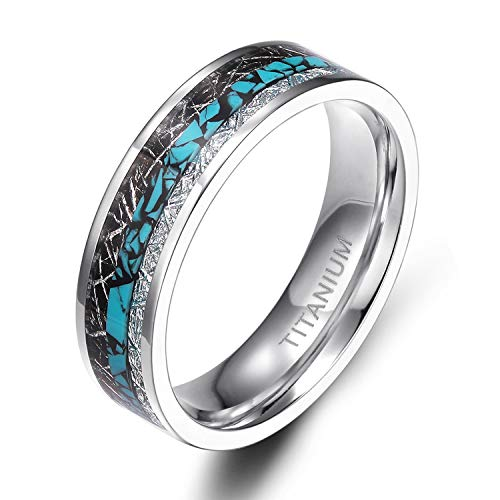 TIGRADE 6mm 8mm Titanium Rings Turquoise Imitated Meteorite Inlaid Wedding Band Size 6-12, 6mm, Size 7.5