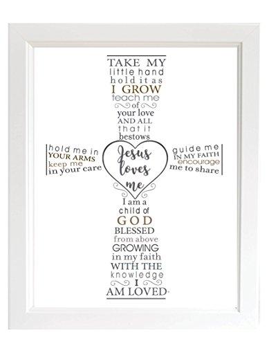 The Grandparent Gift Jesus Loves Me Frame for Baby's Baptism or Christening, White Frame