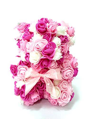 F.sententh ローズベア バラの造花でできたクマの人形 (マーブル濃ピンク)
