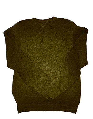Kirkland Men's Extra Fine Merino Wool & Pima Cotton Sweater (X Large, Olive Green)