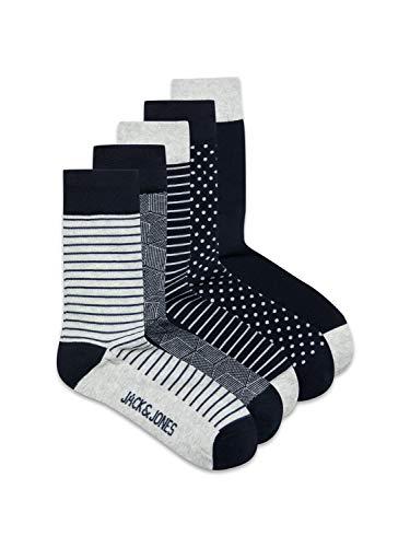 JACK und JONES Herren JACLIGHT 5 Pack NOOS Socken, Light Grey Melange/Detail:Light Grey Melange-Light Grey Melange-Light Grey Melange-Light Grey Melange, ONE Size