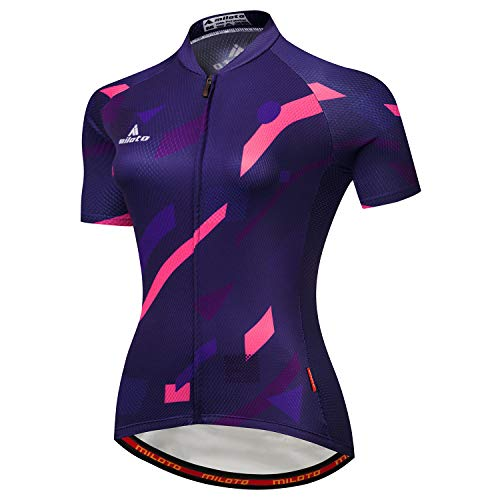 MILOTO, Damen-Fahrradtrikot, kurzärmlig, reflektierend - Mehrfarbig - S (Brust = 82 cm)