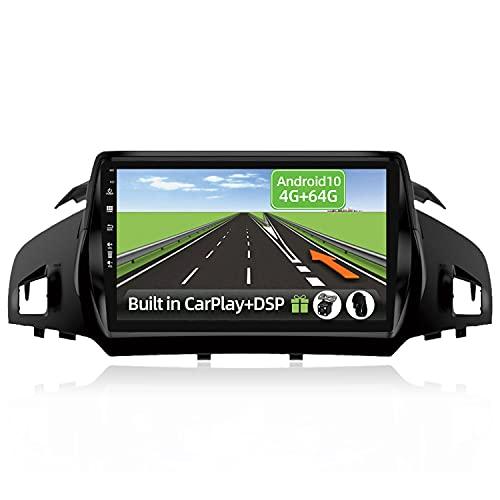YUNTX Android 10 2 Din Autoradio Adatto per Ford Kuga Escape C-max 2013-2017-4G+64G-[Integrato CarPlay/Android auto/DSP]-8 Core-Gratuiti 4LED Camera-Supporto DAB/Controllo del Volante/BT/360°Camera
