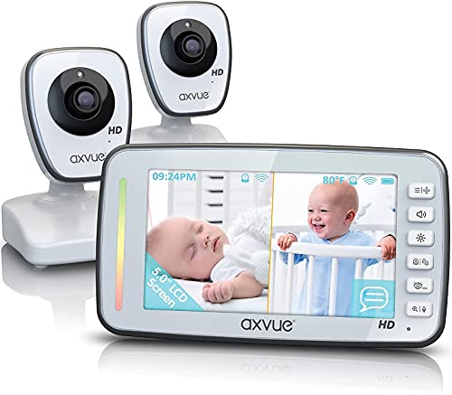 [HD] Video Baby Monitor, 720P 5' HD Display, IPS Screen, 2 HD Cams, 24-Hour Battery Life, 1000ft Range, 2-Way Communication, Secure Privacy Wireless Technology