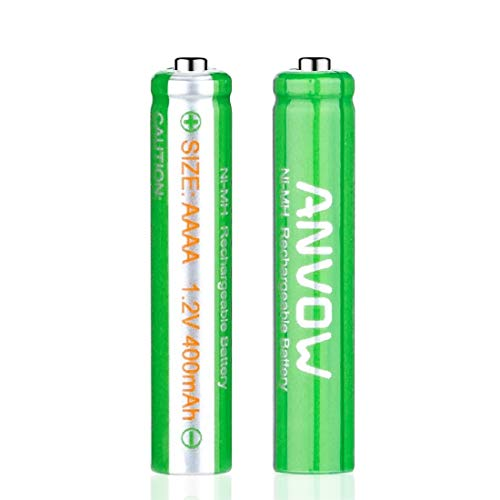 AAAA Batteries, ANVOW Rechargeable AAAA Batteries for Surface Pen, Rechargeable AAAA Battery for Active Stylus, Ni-MH 1.2V 400mAh with Storage Box, 2 Counts
