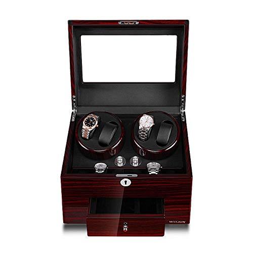Wsjfc Caja automática de enrollador de Reloj, 4 + 6 Relojes Caja de Almacenamiento y visualización de cajones, 5 Modos de rotación, Silenciador antimagnético AC u0026 Fuente de alimentación USB