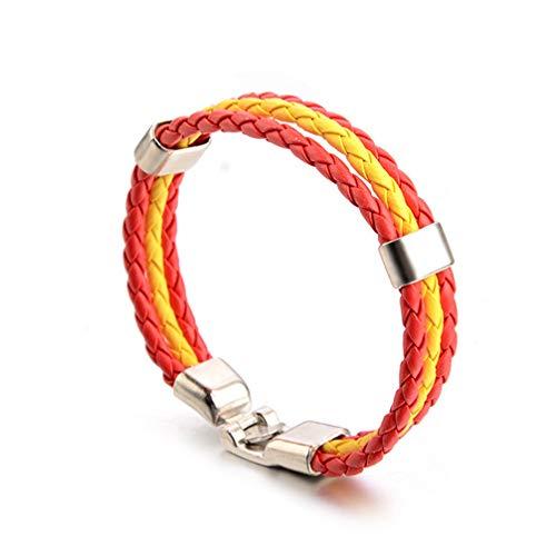 Toporchid Bracelet en Cuir de Vachette Imitation PU Bracelet en Cuir de Couleur Drapeau National Drapeau du Pays Coupe du Monde (Espagne)