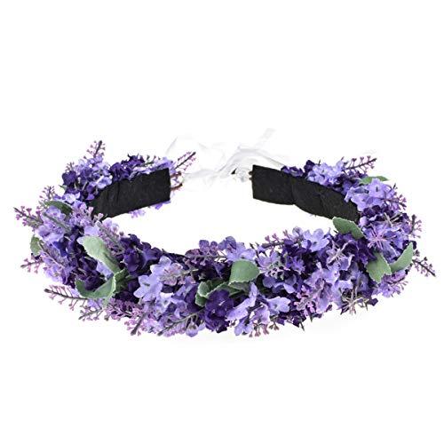 DreamLily Lavender Festival Flower Crown Purple Floral Hair Wreath Lilac Headpiece DFS10 (Lilac Lavender)