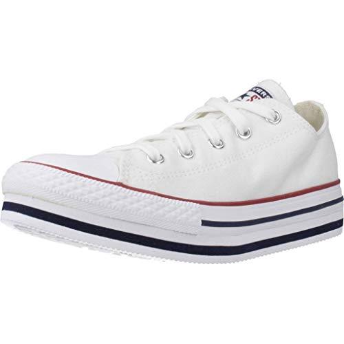 Converse Zapatillas Chuck Taylor All Star PLATF para Niñas Blanco 32 EU