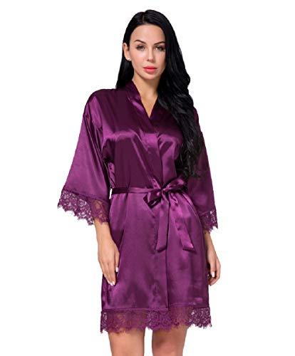 Nachtwäsche Damen Morgenmantel Kimono Robe Satin Kurze Bademantel Mit Spitze Für Frauen (Violett, M)