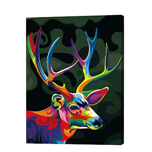 Malen nach Zahlen-Kit, DIY Ölgemälde Dekoration Zeichnen bunte Leinwand Gemälde für Erwachsene und Kinder mit Rahmen, Acrylfarben und Pinsel reh/hirsch