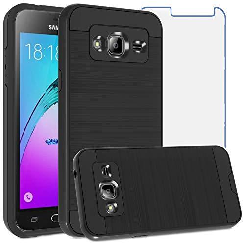 Asuwish Compatible with Samsung Galaxy J3 2016/J 3 V/J36V/Sky/Amp Prime Case Tempered Glass Screen Protector Cover Slim Shockproof Cell Phone for Glaxay Sol J3V JV3 J36 6 J320V J320A Women Men Black