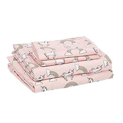 Amazon Basics Kids Unicorns & Rainbows Soft, Easy-Wash Microfiber Sheet Set - Full, Peony Pink Unicorns