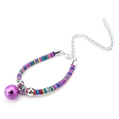 Tnfeeon Pet Cat Halskette mit Glocke, verstellbare Haustiere Halskette Zubehör Versorgung Komfortable Tierzubehör Zubehör(lila)