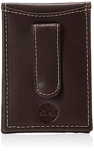 Timberland Men's Minimalist Front Pocket Slim Money Clip Wallet, Dark Brown, One Size