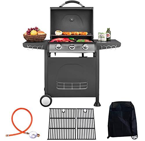 """Traedgard Barbecue au gaz """"Trio"""", 3 brûleurs avec 1 détendeur , 1 adaptateur et 1 housse de protection"""