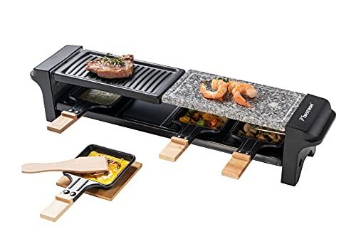 Bestron Raclette Grill für 4 Personen, Elektrischer Tischgrill mit 4 Pfännchen, 4 Holzschaber & 4 Untersetzern, 650 Watt, Farbe: Schwarz