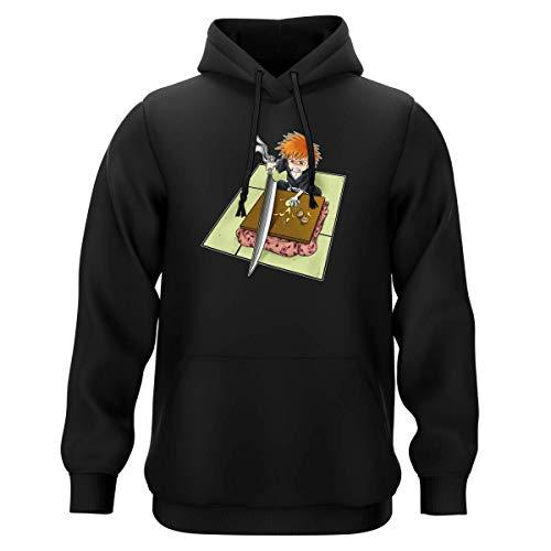 Okiwoki Sweat-Shirt à Capuche Noir Parodie Bleach - Ichigo Kurosaki - Couteau de Cuisine !? (Sweatshirt de qualité Premium de Taille L - imprimé en France)