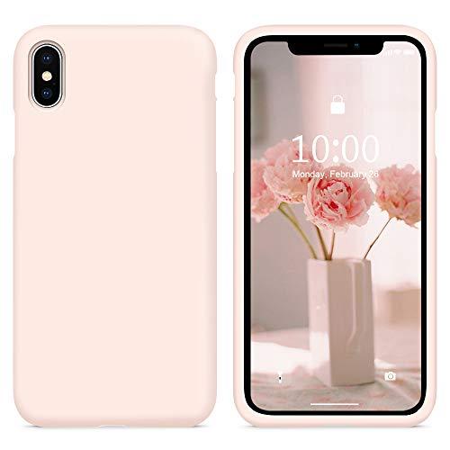 SURPHY Funda iPhone XS MAX Case, Carcasa iPhone XS MAX Silicona Case, Fundas Silicona Líquida Protección con Forro de Microfibra, Compatible con iPhone XS MAX 6.5 Pulgadas (Pink Sand)
