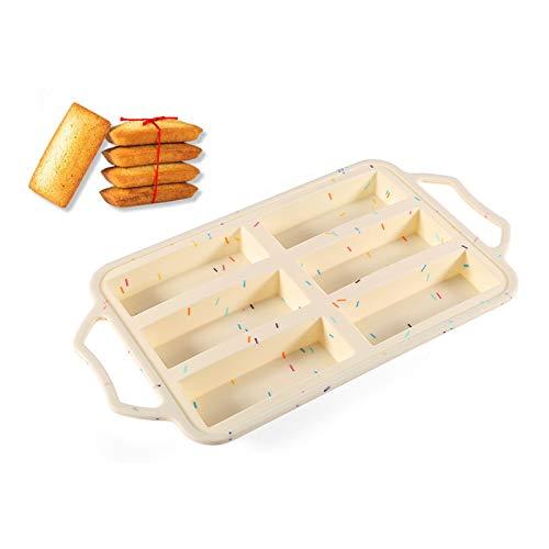 Clest F&H Molde rectangular de 6 cavidades con asas, molde de silicona para jabón, pan, pan, muffin, brownie, pan de maíz, tarta de queso, pudín y más