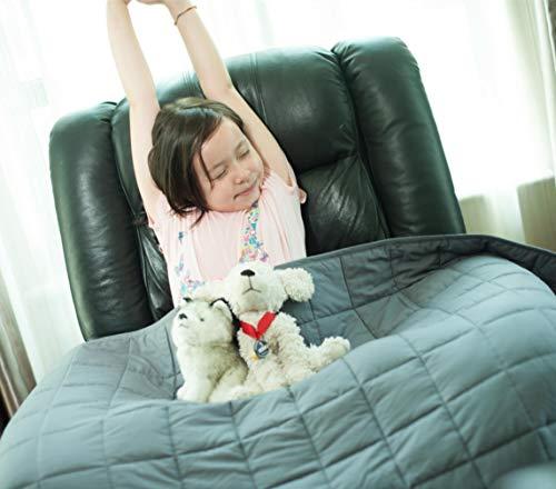 Daverose Beschwerte Decke, 3.2 kg 97x158cm Gewichtsdecke Kinder mit Öko-Tex®-Standard 100, Beschwerte Decke aus 100% Baumwolle, Therapiedecke Anti Stress, Grau