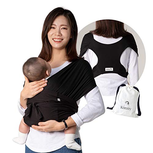 Konny Baby Carrier | UltraLightweight HassleFree Baby Wrap Sling | Newborns Infants to 44 lbs Toddlers | Soft and Breathable Fabric | Sensible Sleep Solution Black L