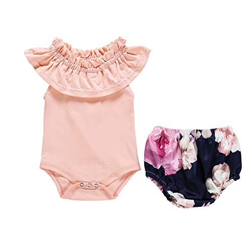 HaiQianXin 2 stks Baby Meisje Aanbieding Schouder Ruches Romper & Bloemen Broek Shorts Pasgeboren Peuter Outfit Suit (Maat: 6M-12M)