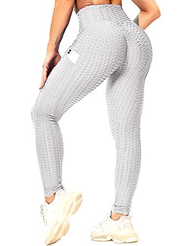 RIOJOY Leggings push up para mujer, con bolsillos, cintura alta, anticelulitis, para deportes, yoga, fitness A02-Gris Claro XXL