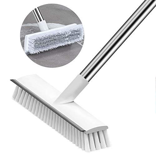 Cepillo para fregar el piso con escoba,cerdas rígidas con mango de127 cm de largo,Cepillo inclinado azulejos de limpieza de barrido, piso de cocina, baño, pared y cubierta