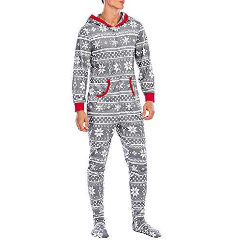 Jumpsuit Overall Herren Winter Jogging Anzug Hirsche Bedruckt One Piece Reißverschluss Trainingsanzug mit Kapuze und Tasche (Grau A, M)