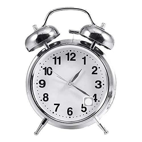 LKU Wekker Wekker desktop dubbele klok ronde aantal stille wijzer wekker met nachtlampje tafel nachtkastje huisdecoratie