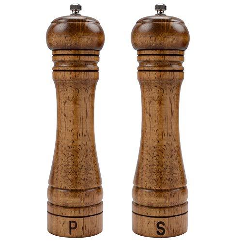 Haomacro Hölzern Gewürzmühle Holz, Pfeffermühle Salzmühle,Keramikmahlwerk, Manuell,Aus Holz, Mit Einstellbarer,20cm