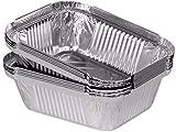 ZERAY® 25 cuencos de aluminio de 250 ml-12 x 10 x 3,5 cm + tapa con calidad de marca alemana. Cuenco de aluminio con tapa. Molde para horno con tapa. Bandeja redonda de aluminio.