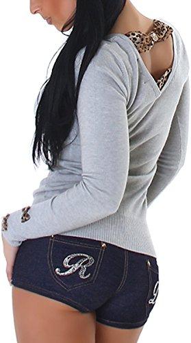 Jela London Damen Pullover Animal-Print Leo-Look Leopard Steinchen-Applikation Schleifen Rücken-Ausschnitt, Grau