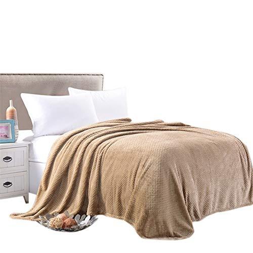 Couverture Peluche Plaid Blanket Couvertures Couleur Unie For Lits D'avion Sofa Doux Et Chaud D'hiver Flanelle Toison Throw Blanket Couvre-lit Bedsheet maison ( Color : Rice Camel , Size : 150x200cm )