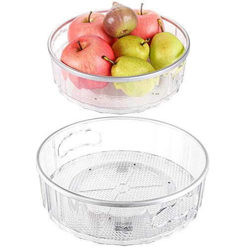 Hedume Set of 2 Lazy Susan Turntable with Handle Basics Plastic Kitchen Turntable Multifunctional Spice Racks Organizer 360 Degree Rotating Food Storage Container for Refrigerator or Countertop