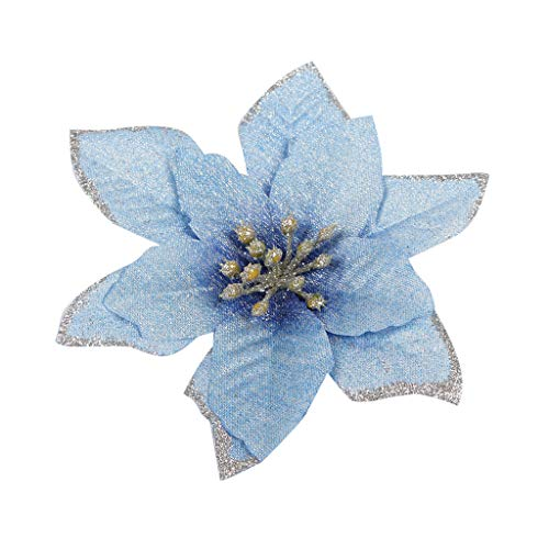 Christmas Glitter Flower Ornaments,Jchen 10Pcs Glitter Bling Christmas Tree Ornaments Artificial Christmas Flowers Christmas Tree Decoration Flower for Christmas Home Party Wedding Decor (Blue)